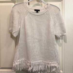 Short sleeve white sweater top
